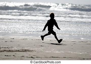 мальчик, на, , пляж