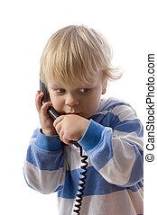 мальчик, на, телефон
