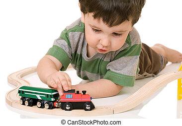 мальчик, поезд, задавать, playing