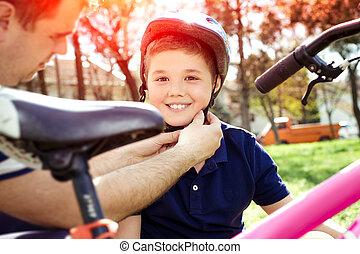 мальчик, сдачи, на, байк, шлем