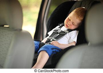 мальчик, спать, в, ребенок, автомобиль, сиденье