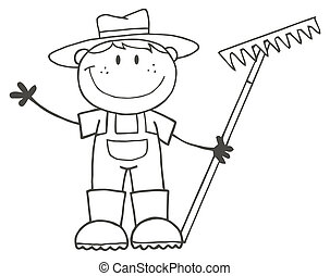 мальчик, фермер, outlined