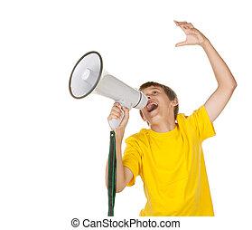 мальчик, yelling, into, , мегафон