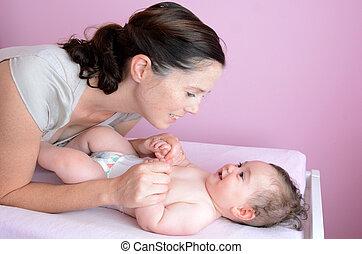 мама, игры, детка, молодой, ее