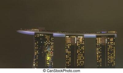 марина, бухта, сингапур, ночь