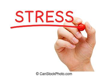маркер, стресс, красный