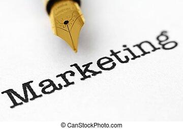 маркетинг, ручка, фонтан