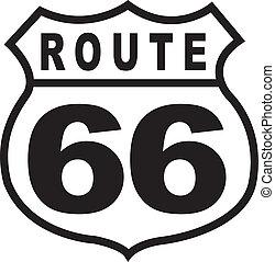 марочный, маршрут, знак, ретро, 66, шоссе