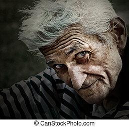 марочный, мудрость, улыбка, портрет, старшая, человек