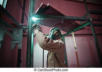 маска, металл, air., строительство, сварщик, открытый, сварка
