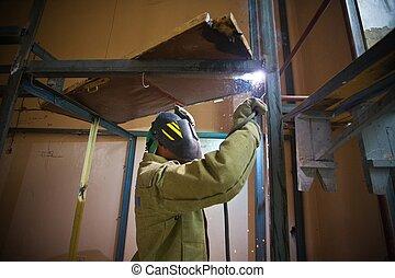 маска, металл, air., строительство, сварщик, открытый,...