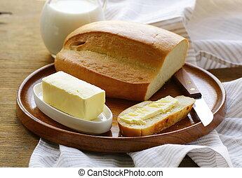 масло, буханка, белый, хлеб