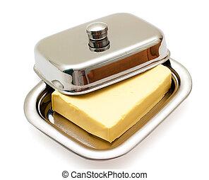 масло, на, серебряный, масло, блюдо, isolated