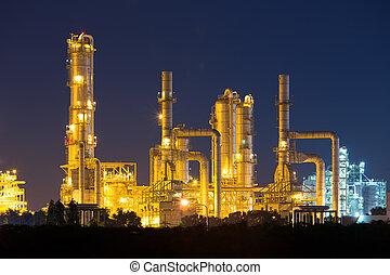 масло, очистительный завод, ночь