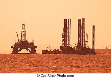 масло, установка, в течение, закат солнца, в, баку, азербайджан, в, каспийский, море