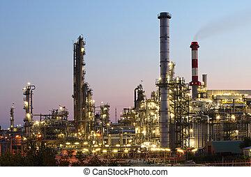 масло, and, газ, промышленность, -, очистительный завод, в, сумерки, -, завод, -, нефтехимический, растение