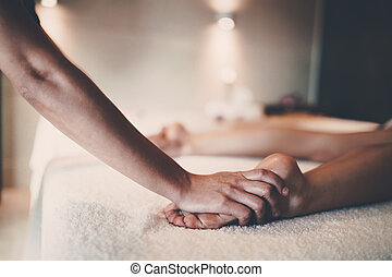 массажистка, массажист, tretment, в течение, massaging, ...