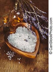 массаж, масло, and, море, поваренная соль