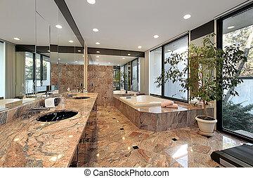 мастер, ванна, with, мрамор, floors