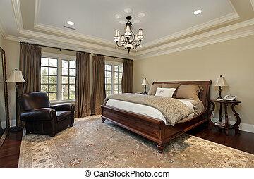 мастер, спальня, with, лоток, потолок