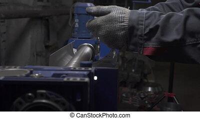 машина, видео, bending, за работой, обработать, лист
