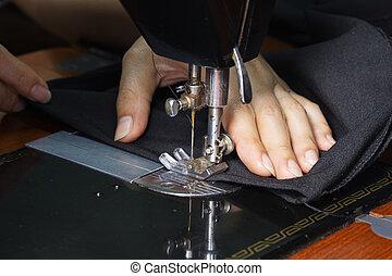машина, крупный план, шитье, за работой, рука