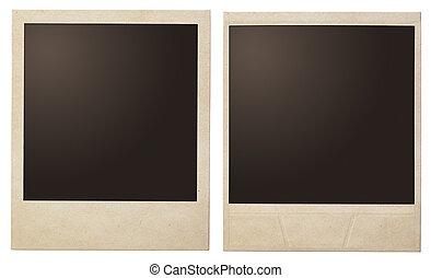 мгновенное, марочный, поляроид, isolated, фото, frames