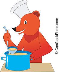 медведь, плита