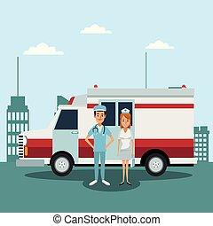 медицинская, больница, команда