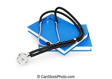 медицинская, концепция, стетоскоп, книга, образование