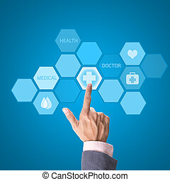 медицинская, лекарственное средство, интерфейс, рука, компьютер, за работой, концепция, врач, современное
