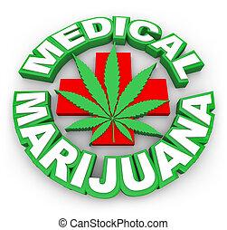 медицинская, марихуана, плюс, знак, лист, words, рекламировать, selling, горшок, med