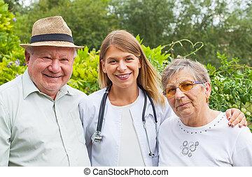 медицинская, пара, пожилой, врач