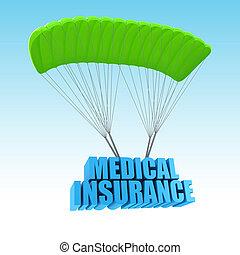 медицинская, страхование, 3d, концепция, иллюстрация
