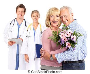медицинская, patient., пара, пожилой, врач