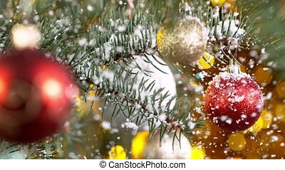 медленный, ветви, falling., motion., рождество, супер, snowflakes, ель