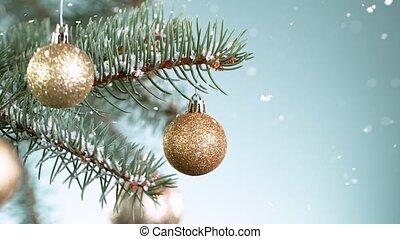 медленный, snowflakes, ветви, рождество, motion., ель, супер, falling.
