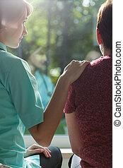 медсестра, женщина, assisting, взрослый