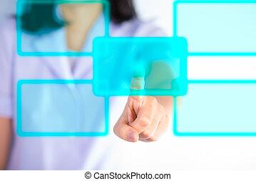 медсестра, прессование, современное, buttons, показать, технологии, of, медицинская