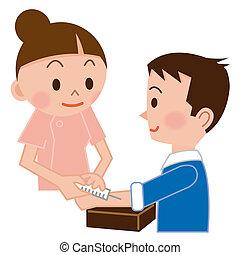 медсестра, injecting, пациент