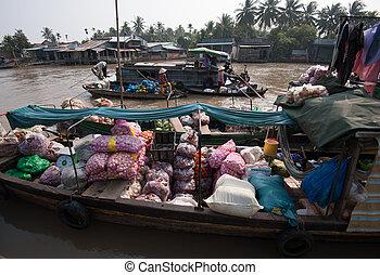 меконг, тхо, можно, дельта, вьетнам, плавающий, рынок