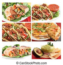 мексиканский, питание, коллаж