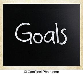 """мел, классная доска, белый, """"goals"""", рукописный"""