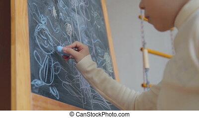 мел, немного, доска, девушка, рисование