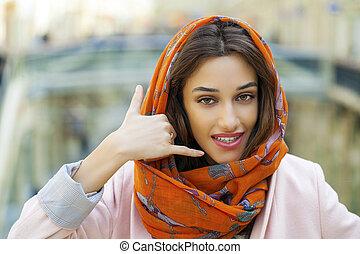 меня, женщина, молодой, вызов, изготовление, жест
