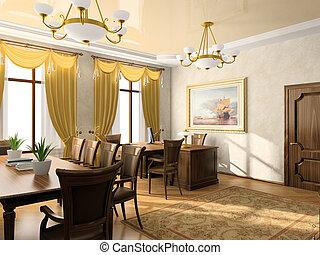 меня, картина, офис, стена, rendering., интерьер, отфильтрованный, was, 3d
