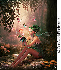 место, of, butterflies, 3d, cg