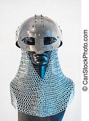 металл, викинг, шлем, with, цепь, почта, в, , черный, манекен, на, белый, background., одежда, для, , викинг, война