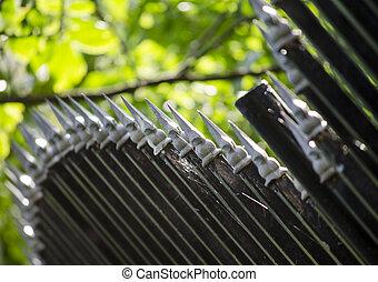 металл, забор, закрыть, вверх
