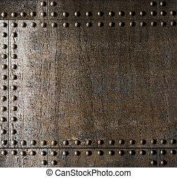 металл, задний план, with, rivets